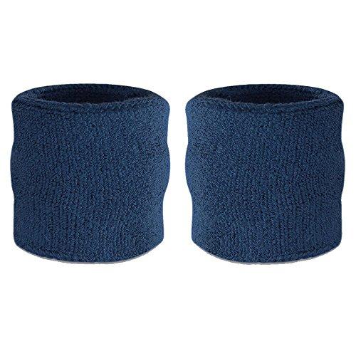 7212a9295fd35 suddora Handgelenk Schweißband – Athletic Baumwolle Frottee Armband für  Sport Paar Blau navy